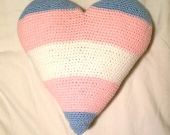 Extra Large Trans Pride Heart Stuffed Crocheted Decorative Pillow