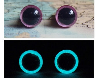 6mm Glow In The Dark Eyes, Sparkly Pink Safety Eyes With Aqua Glow, 1 Pair Of Glow In The Dark Safety Eyes