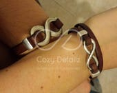 VALENTINES DAY couples infinity bracelets, infinity leather bracelet, couples jewelry, boyfriend girlfriend gift, couples personalized brace