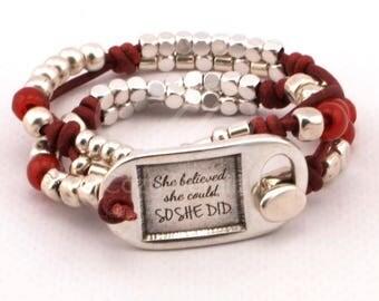 She believed she could so she did, friendship gift, motivational bracelet, quote gifts, boho bracelet, clasp bracelet, women beaded bracelet