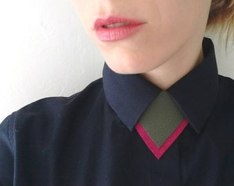 Double trouble Leather & felt shirt necklace,unique necktie, unisex bow tie alternative, statement necklace, bold necklace, shirt tie, gift