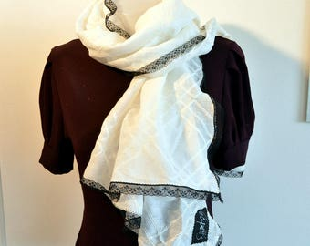 white scarf with lace