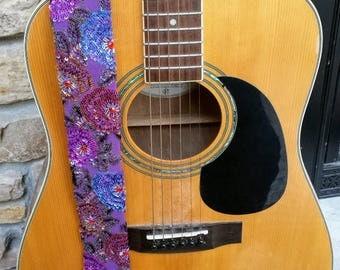 Purple Woven Flower Beaded Guitar Strap; Statement Guitar Strap; Unique Guitar Straps; Handmade Straps; Gift for Her; Beaded Guitar Straps