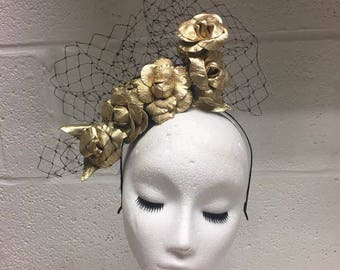 SAMPLE Gold Leather Rose Headband