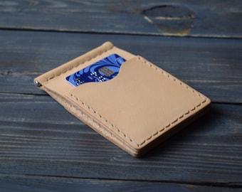 Money clip wallet, tan money clip wallet, leather money clip wallet, money clip