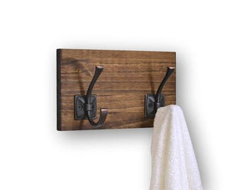 Coat or Bath Towel Rack His and Hers 2 Hooks