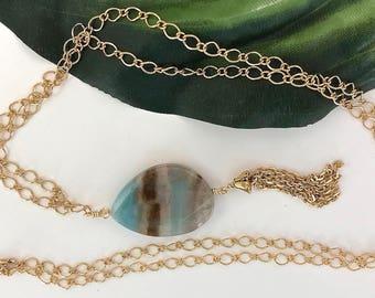 Gold Chain Tassel Necklace, Layering Tassel Necklace, Layering Necklace, Quartzite Necklace, Gold Necklace, Long Necklace, Tassel Jewelry