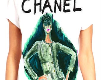 Chanel/Lagerfeld inspired hand painted shirt #3