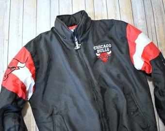 90s CHICAGO BULLS Coat // Size Large Mens Womens // Logo Athletic // NBA Basketball // Winter Coat // Michael Jordan // Black Red White