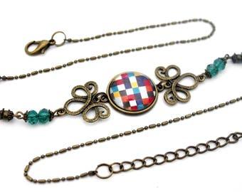 "Cabochon headband ""crocheted squares - pixels""-headband retro vintage glass brass bronze"