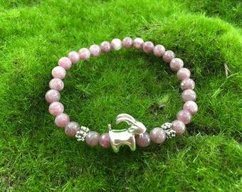 Evening Dusk Tourmaline Enchanted Goat bracelet - stretch yoga bracelet - portion of proceeds goes to Goats of Anarchy