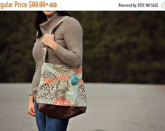 CHRISTMAS SALE Conceal Carry Purse, Medium Messenger Bag, Flowers, Aqua and Coral, Conceal Carry Handbag, Concealed Carry Purse, Conceal and