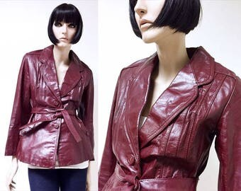 Vintage Red Leather Jacket Tailored jacket Boho clothing Hippie clothing Grunge clothing Goth Biker jacket