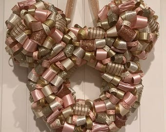 Mickey Shaped Rose Gold Champagne Ribbon Wreath, Holiday, Christmas, Wedding, Party Decor