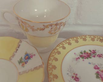 Very Pretty Vintage Yellow Mismatch Floral Tea Set, Fine Bone China Tea Set Trio with gold gilting, afternoon