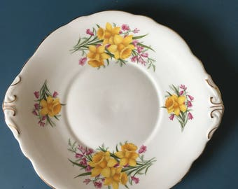 Vintage Regency Daffodil Cake Plate