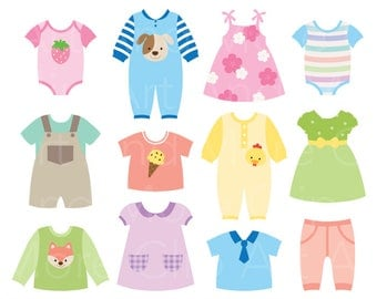 Baby dress Clipart Baby Shower Clipart Baby Clothes Clipart - Digital Instant Download