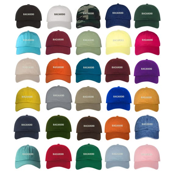BACARDIO Dad Hat, Embroidered Work Out Bacardi Hat, Low Profile Bar Life Gym Life Baseball Cap Hats, Multiple Colors
