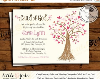 Baptism Invitation - Christening Invite - Communion - Confirmation - Heart Tree - Child of God Invite - Birthday - Printable File