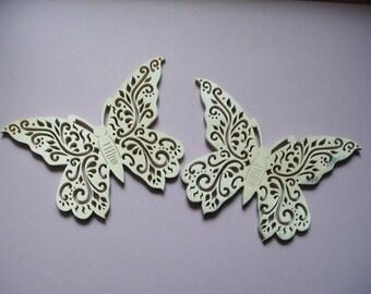 2 filigree butterflies