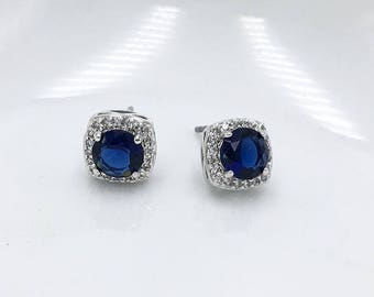 SALE Ends Friday Sapphire Stud Wedding earrings, Sapphire Blue bridal earrings, cubic zirconia earrings stud earring, Blue Bridesmaid Earrin