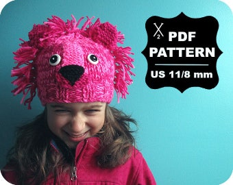 English-French Two Needle KNITTING PATTERN / Digital Download / #53 / Knitted Lion Hat / 6-16M to 5 years-Adult / US11 / 8mm