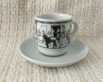 Street Dining Scene Demitasse Espresso Cup and Saucer, Black on White Demitasse, Cafe Scene Demitasse, Brazil