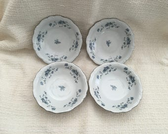 Johann Haviland, Traditions Fine China, Blue Garland, Thailand, Blue Floral on White, Berry Bowls, Berry Dishes, Dessert Bowls, 1990s