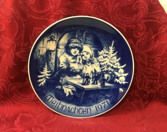 Bareuther Bavaria Christmas Plate, Weihnachten 1971, West Germany, Artist Ludwig Richter, Hanging Plate, Cobalt Blue Plate,