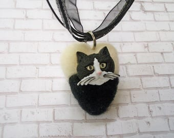Cat Pendant, Felted Jewelry, Cat Lover Necklace, FeltWithAHeart
