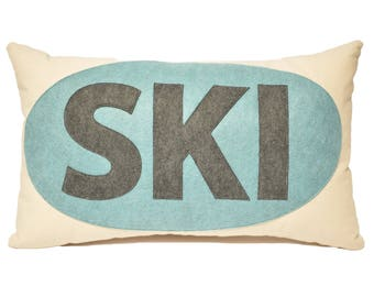 "14x21"" SKI decorative throw pillow,  Blue and Grey, Ski Lodge, Ski Lift, Ski Pillow, Ski Slope, Winter Home Decor, The Salty Cottage"