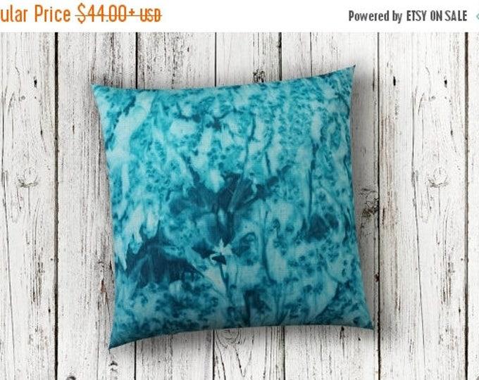 SALE Teal Bohemian Pillow Cover 18x18-Watercolor Silk Pillow-Beach Decor-Coastal Decor-Ocean Decor-Spring Decor-Gift
