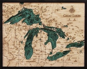 Great Lakes Maps, Clock, Cribbage, Pillow, and Serving Tray