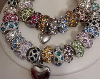 Sister's Matching Bracelets, European Style Bracelets, Heart Charm, Bangle Bracelets, Silver Bangles, Brilliant Rhinestone Bracelets, Gift