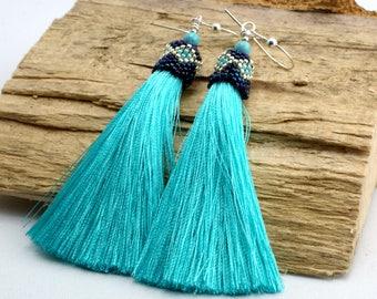 Long Tassel Earrings,Beadwork, Jewerly, Tassel Earrings, Beadwork, Beaded Earrings, Long Dangle Earrings, Dangle Earrings