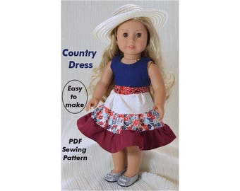 Country dress, 18 inch doll clothes pattern, American girl doll clothes pattern, PDF Sewing Pattern,  instant download