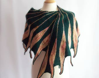 Knitted Wrap, Wool Wrap, Wool Shawl, Knit Shawl, Green Wrap, Winter Shawl, Feathers, Gift for Her, Gift for Mum, Mothers Day Gift