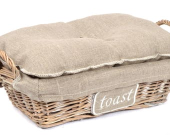 "Basket Wicker + natural flax + embroidery ""Toast"" lid cover"