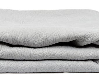 """THROW bed 240 x 260 fabric damask """"Gray"""""""