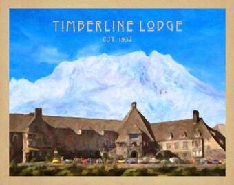 Timberline Lodge Print, Mt Hood Poster, Oregon Travel Poster, Pacific Northwest Oregon Decor Wall Art #vi869