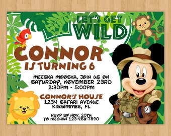Safari Mickey Mouse Inspired Birthday Invitation