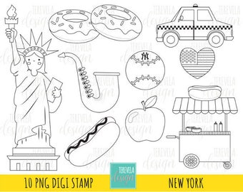 50% sale NEW YORK digi stamp, big apple stamp, Commercial use, cute graphics, new york, coloring page, digital stamp, travel, taxi car