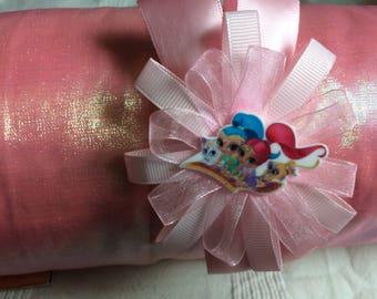 Pink satin and organza headband
