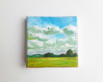 original oil painting, landscape painting, small painting, forest painting, 7x9.5 painting, oil on canvas, mini painting, little painting