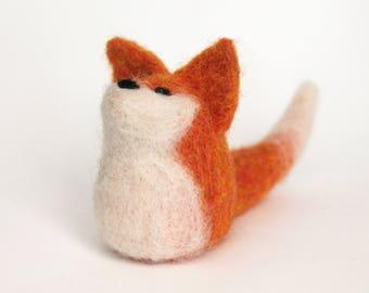 Felted fox, handmade fox doll, needle felted fox toy, orange fox decoration
