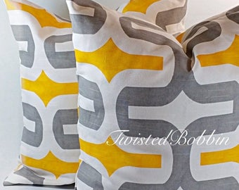 SALE Pillow cover . Gray and yellow. Pillow cover. Set of two .  Select your size
