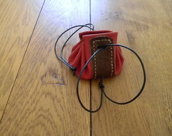 Two-tone red and brown leather purse handmade