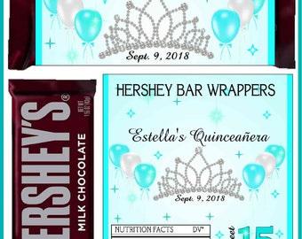 12 QUINCEANERA Party Favors Candy Bar Hershey Bar Wrappers - We Print & Ship