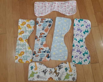 Fabric burp cloths, cloth burp cloth, contoured burp cloth