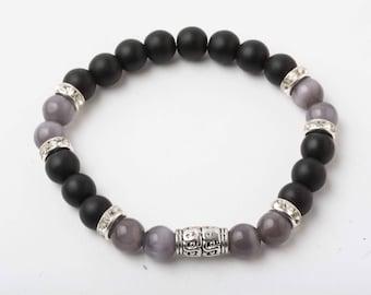 Bracelet onyx and eye cat, yoga bracelet, meditation bracelet, stone Bracelet, black bracelet, gift for her, made in Quebec